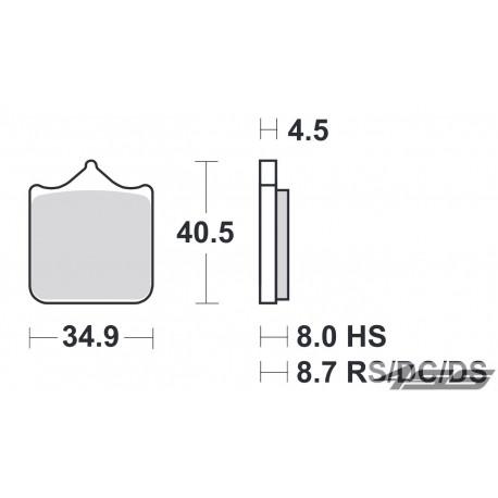Predné platničky SBS 870HS Sinter (Cesta)
